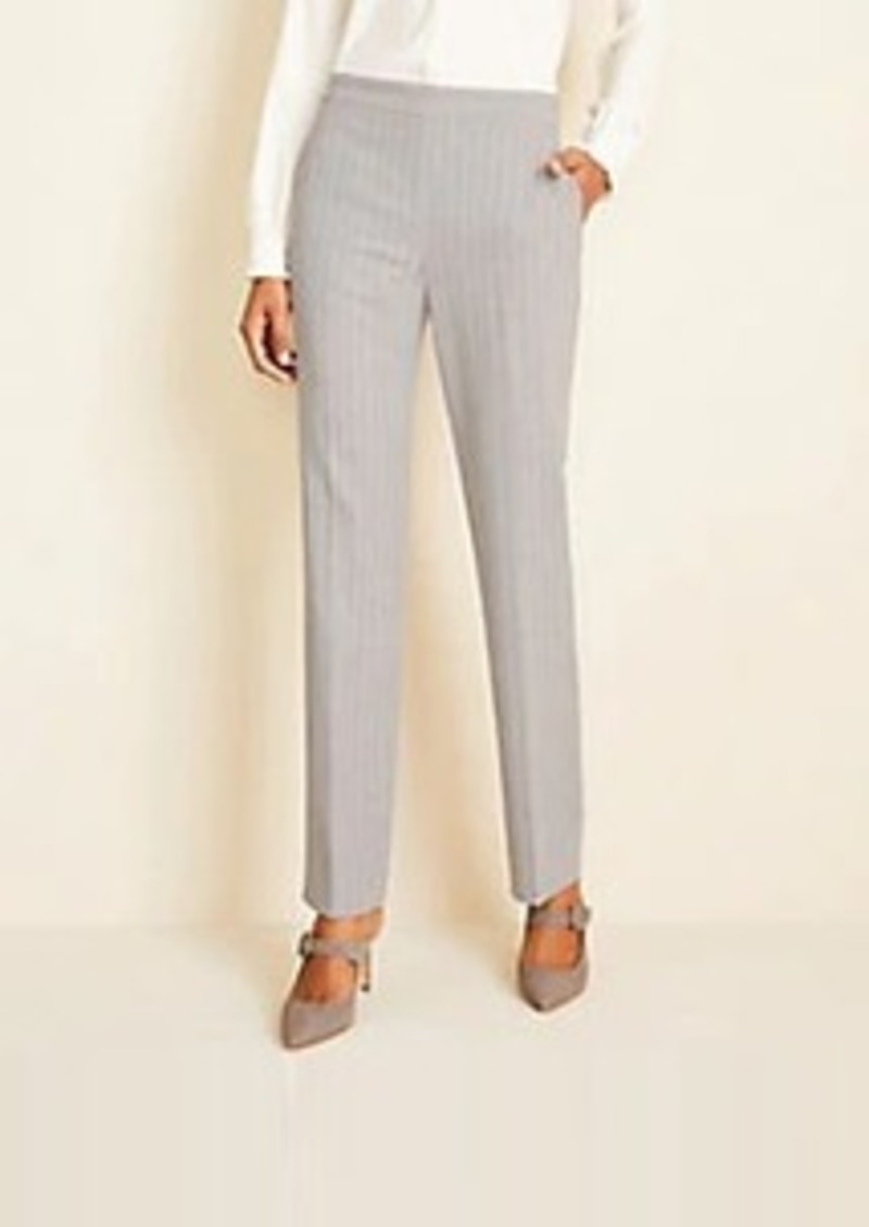 Ann Taylor The Side-Zip Straight Pant in Pinstripe Bi-Stretch