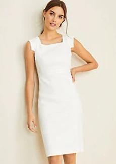 Ann Taylor The Square Neck Sheath Dress in Linen Herringbone
