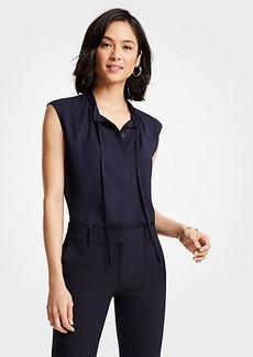 Ann Taylor Tie Neck Button Down Shell