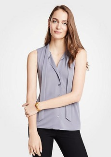 Ann Taylor Tie Neck Button Front Shell