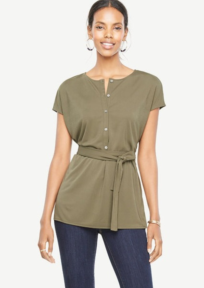 Ann Taylor Tie Waist Button Front Top
