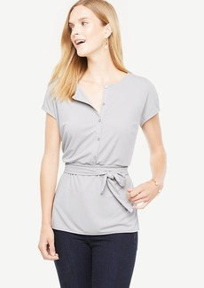 Tie Waist Button Front Top