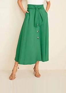 Ann Taylor Tie Waist Button Pocket Maxi Skirt