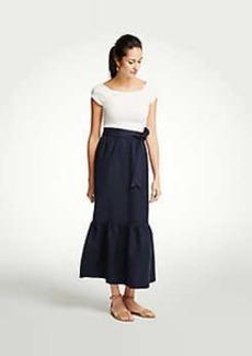 Ann Taylor Tie Waist Flounce Maxi Skirt