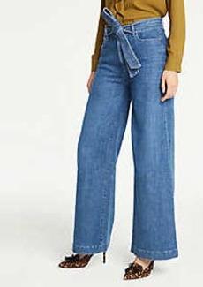 Ann Taylor Tie Waist Wide Leg Jeans