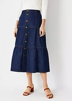 Ann Taylor Tiered Denim Midi Skirt