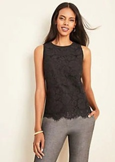 Ann Taylor Tiered Lace Front Shell
