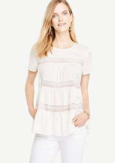 Ann Taylor Tiered Lace Trim Tee