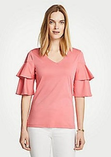 Ann Taylor Tiered Ruffle Sleeve Top