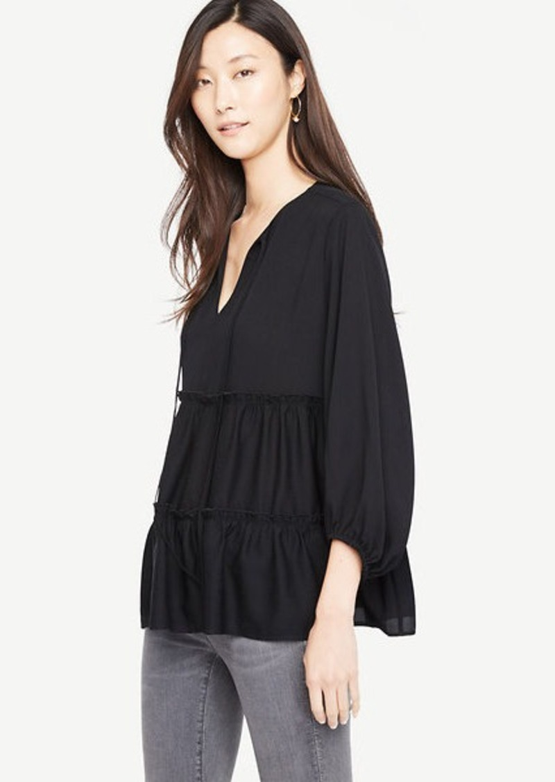 Ann Taylor Tiered Ruffle Tie Neck Top