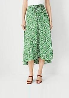 Ann Taylor Tile Print Knotted Midi Skirt