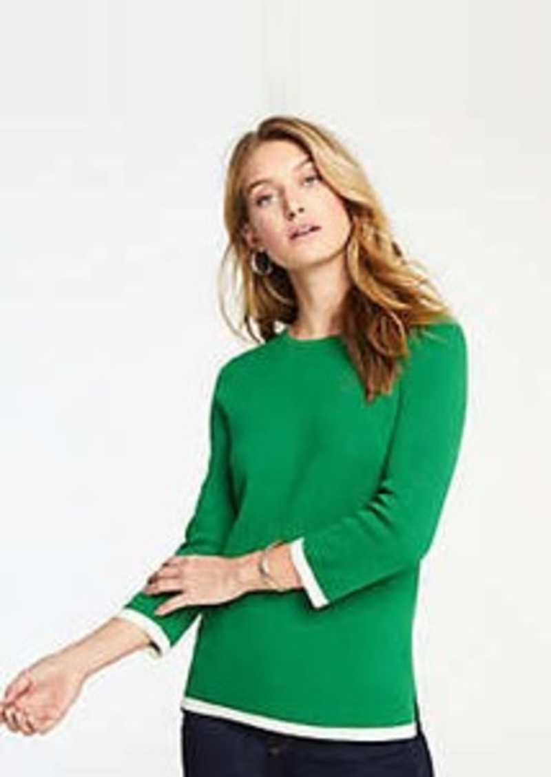 Ann Taylor Tipped 3/4 Sleeve Sweater