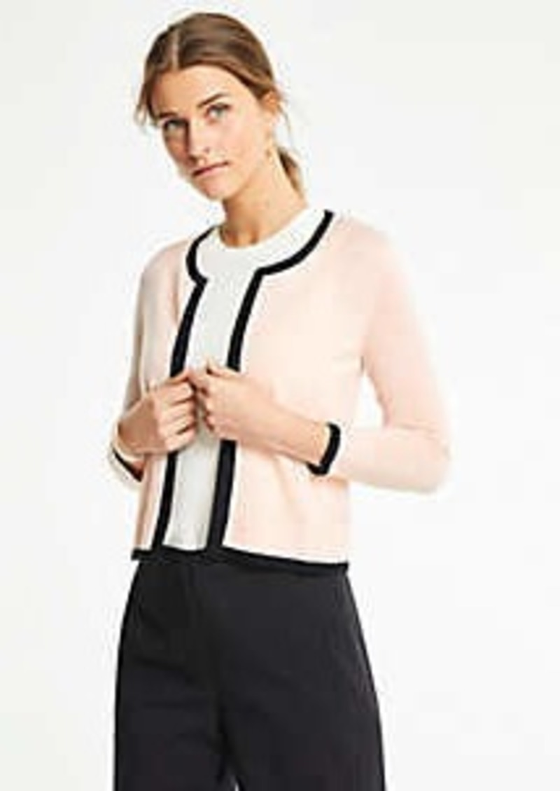 Ann Taylor Tipped Cropped Open Cardigan
