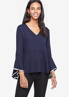 Tipped Flare Sleeve Peplum Top