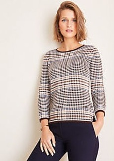 Ann Taylor Tipped Plaid 3/4 Sleeve Sweater