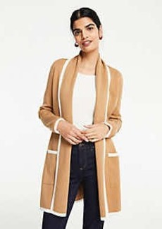 Ann Taylor Tipped Shawl Open Cardigan