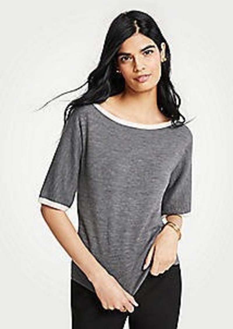 Ann Taylor Tipped Short Sleeve Sweater