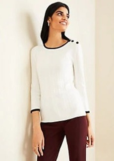 Ann Taylor Tipped Shoulder Button Sweater