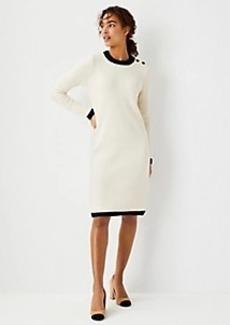Ann Taylor Tipped Shoulder Button Sweater Dress