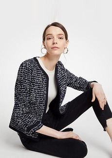 Ann Taylor Tipped Tweed Jacket