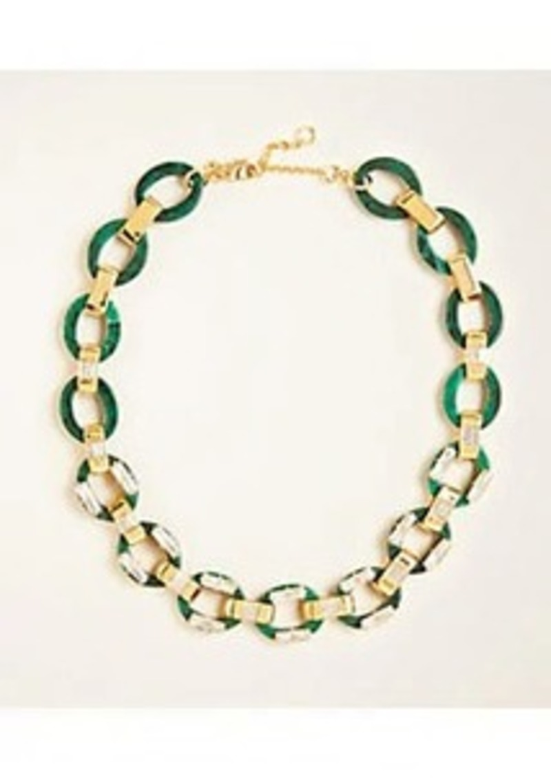 Ann Taylor Tortoiseshell Print Crystal Baguette Necklace