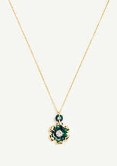 Ann Taylor Tortoiseshell Print Flower Pendant Necklace