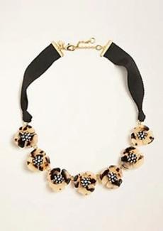 Ann Taylor Tortoiseshell Print Flower Ribbon Necklace