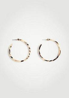 Ann Taylor Tortoiseshell Print Hoop Earrings