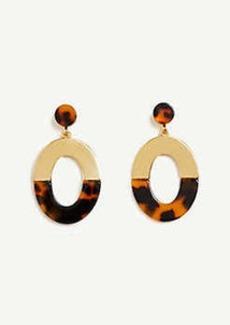 Ann Taylor Tortoiseshell Print Metal Oval Earrings