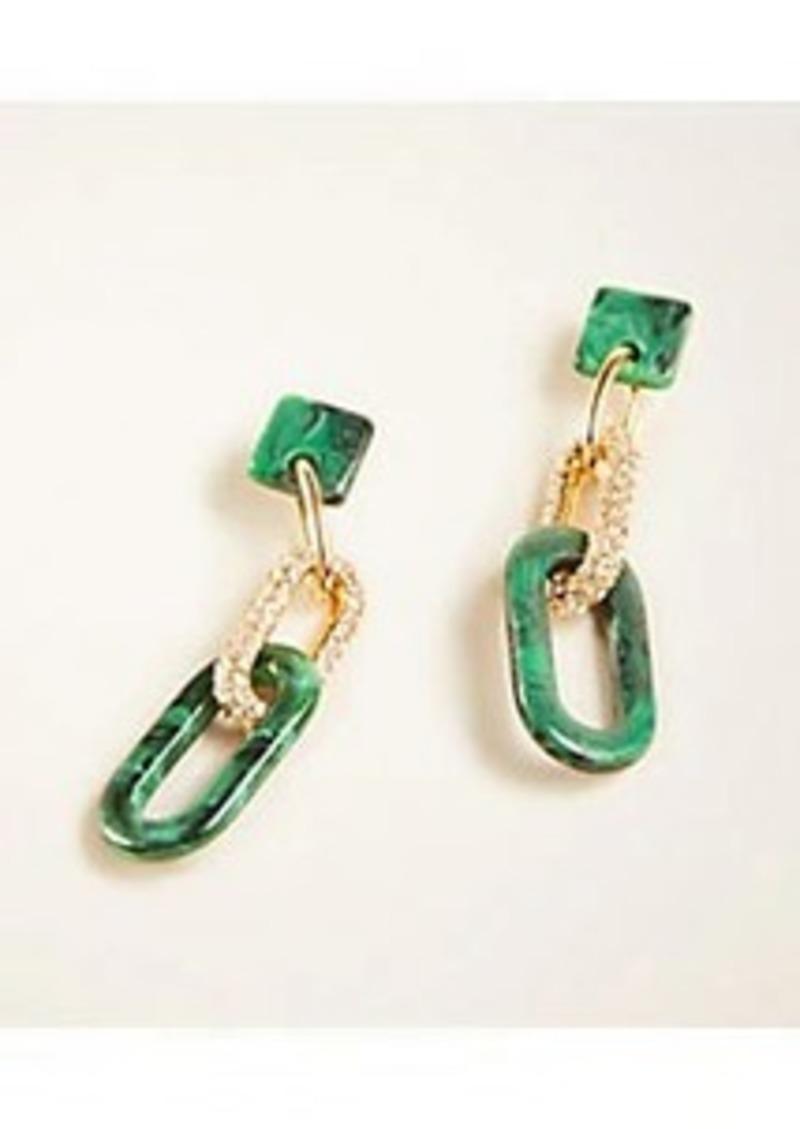 Ann Taylor Tortoiseshell Print Pave Link Earrings