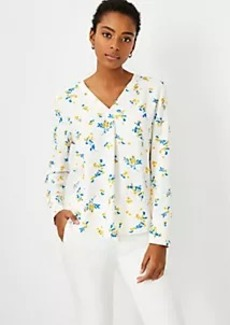 Ann Taylor Tossed Floral Mixed Media Pleat Front Top