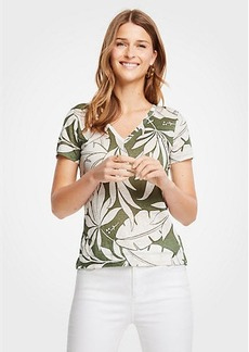 Ann Taylor Tropical Leaf Linen V-Neck Tee