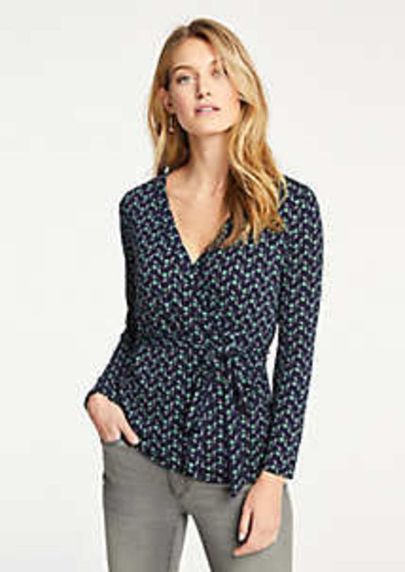 Ann Taylor Tulip Piped Belted Wrap Top