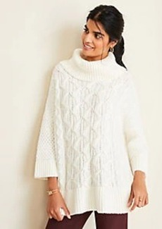 Ann Taylor Turtleneck Cable Poncho Sweater