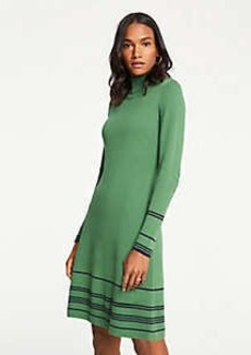 Ann Taylor Stripe Button Turtleneck Sweater Dress