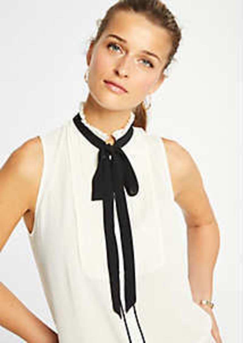 Ann Taylor Tuxedo Bib Tie Neck Shell