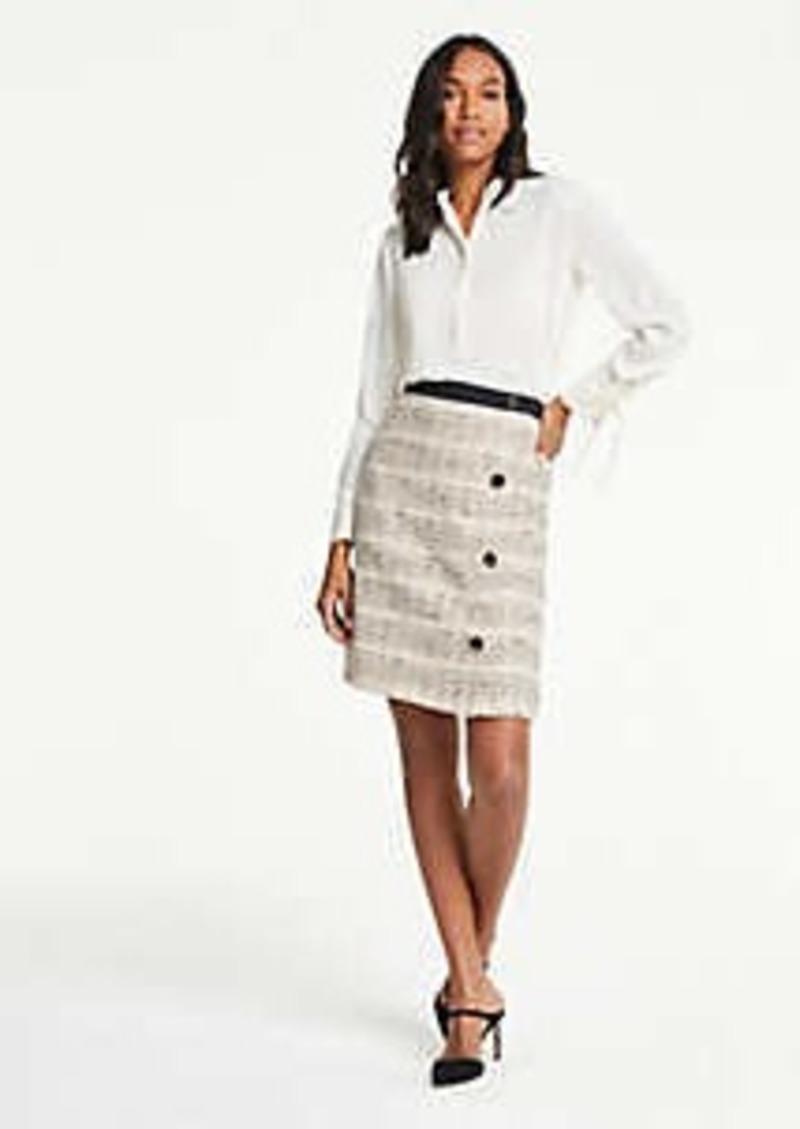 Ann Taylor Tweed Button A-Line Skirt