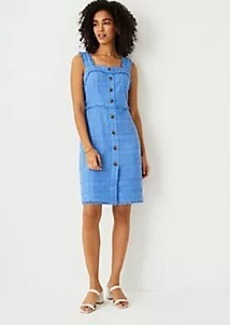 Ann Taylor Tweed Button Front Shift Dress