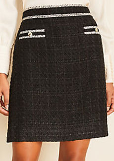 Ann Taylor Tweed Button Pocket Skirt