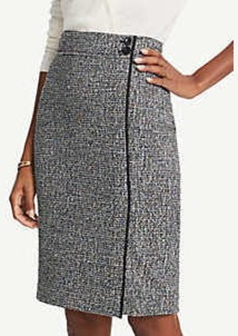Ann Taylor Tweed Button Waist Pencil Skirt