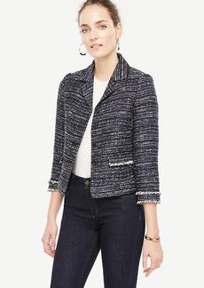 Ann Taylor Tweed Fringe Jacket