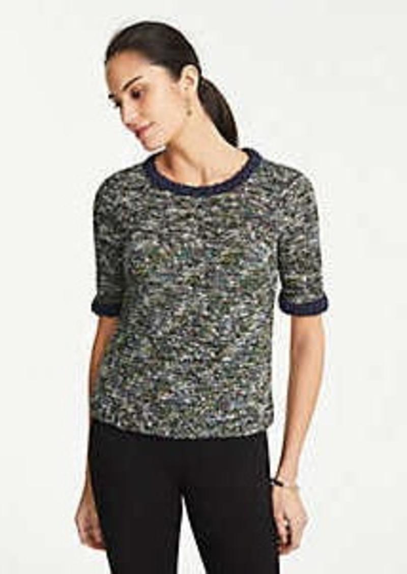 Ann Taylor Tweed Fringe Sweater Tee