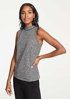 Ann Taylor Tweed Mock Neck Shell