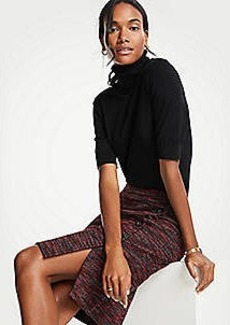 Ann Taylor Tweed Side Button Pencil Skirt