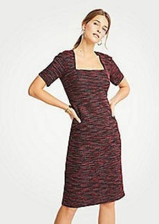 Ann Taylor Tweed Square Neck Sheath Dress