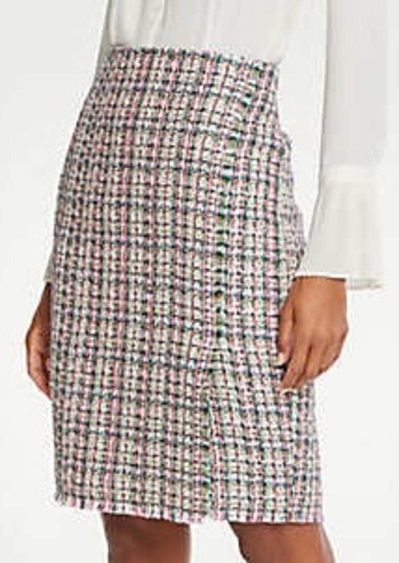 Tweed Wrap Pencil Skirt