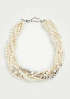 Ann Taylor Twisted Pearlized Pave Necklace