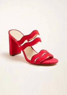 Ann Taylor Tyler Wavy Suede Block Heel Sandals