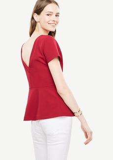 Ann Taylor V-Back Peplum Top