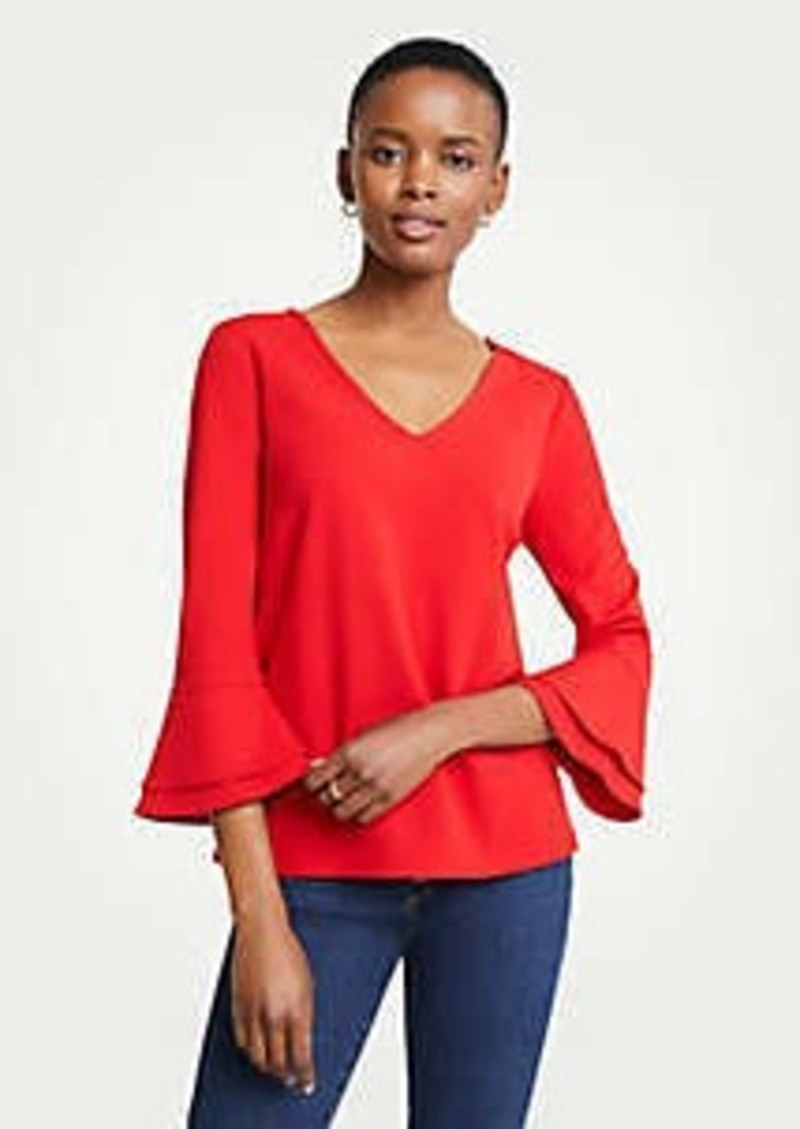 Ann Taylor V-Neck Flare Sleeve Top